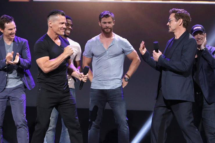 Actors Benedict Cumberbatch, Josh Brolin, Chadwick Boseman, Chris Hemsworth, and Robert Downey Jr. and producer Kevin Feige of AVENGERS: INFINITY WAR took part today in the Walt Disney Studios live action presentation at Disney's D23 EXPO 2017 in Anaheim, Calif.