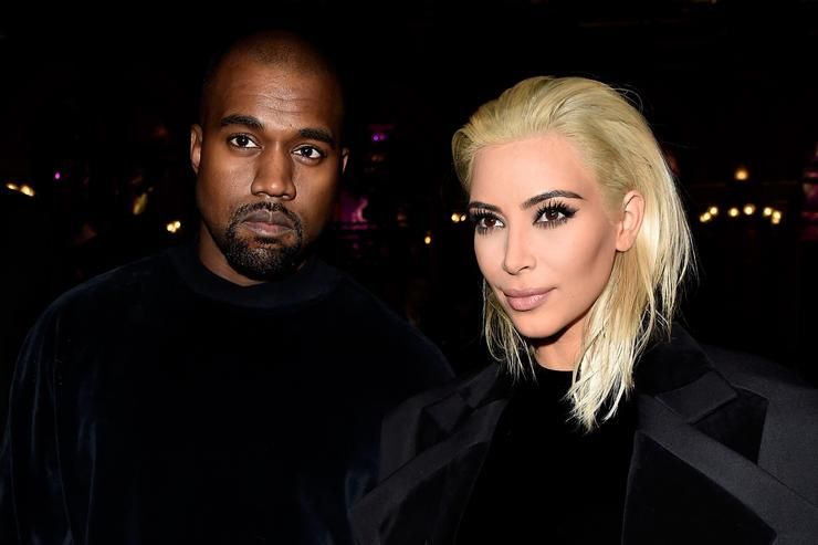 Kim Kardashian and Kanye West attend the Balmain show as part of the Paris Fashion Week Womenswear Fall/Winter 2015/2016 on March 5, 2015 in Paris, France