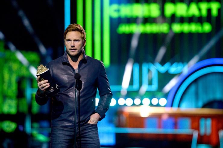 Actor Chris Pratt accepts Best Action Performance for 'Jurassic World' onstage during the 2016 MTV Movie Awards at Warner Bros. Studios on April 9, 2016 in Burbank, California. MTV Movie Awards airs April 10, 2016 at 8pm ET/PT.