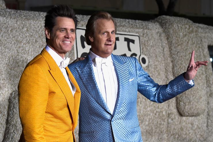 Actors Jim Carrey (L) and Jeff Daniels arrive at the premiere of Universal Pictures and Red Granite Pictures' 'Dumb And Dumber To' on November 3, 2014 in Westwood, California.