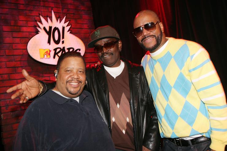 Radio personalities Doctor Dre (L) and Ed Lover (R) and hip hop pioneer Fab 5 Freddy pose for a photo during the Yo! MTV Raps 20th Anniversary Roundtable at the MTV Times Square Studios April 7, 2008 in New York City.