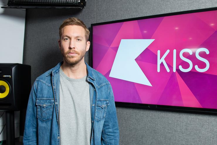 Calvin Harris visits Kiss FM Studio's on April 19, 2018 in London, England.