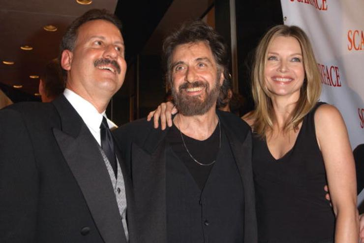 Craig Koinblau, president of Universal Studios Home Pictures; actor Al Pacino and actress Michelle Pfeiffer arrive at the 20th anniversary re-release celebration of the movie 'Scarface' at City Cinemas Theaters September 17, 2003 in New York City.