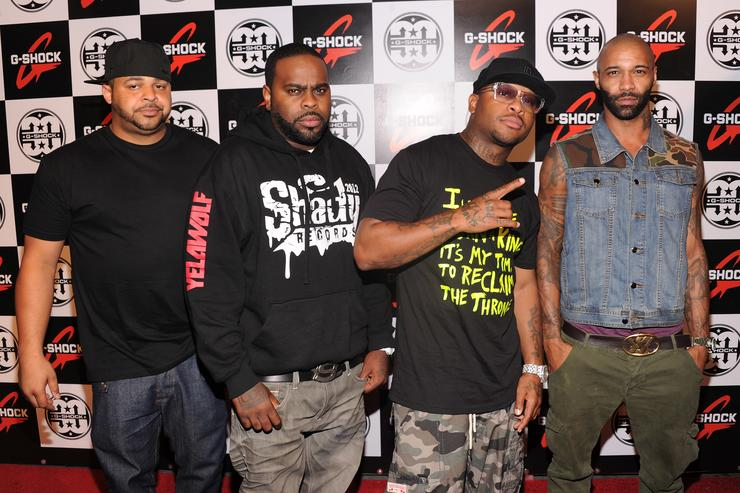 Rappers Joell Ortiz, Crooked I, Royce da 5'9' and Joe Budden of Slaughterhouse attend the G-Shock 30th Anniversary Kick Off Event at the Hammerstein Ballroom on August 9, 2012 in New York City.