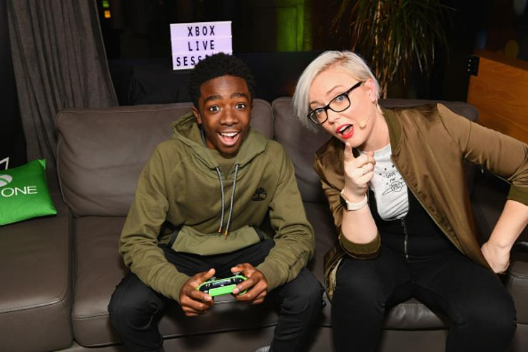 Caleb McLaughlin (L) and Kate Yeager attend as Liam Payne, Chloe Grace Moretz, Brooklyn Beckham and Caleb McLaughlin Host Xbox One x VIP Event & Xbox Live Session on November 6, 2017 in New York City.