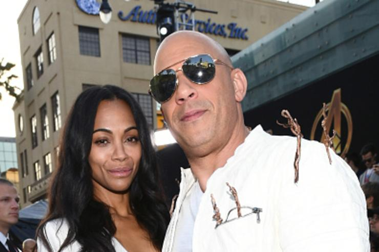 Zoe Saldana and Vin Diesel attend the premiere of Disney and Marvel's 'Avengers: Infinity War' on April 23, 2018 in Los Angeles, California.