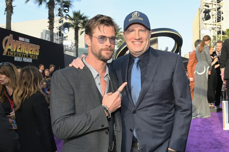 Actor Chris Hemsworth (L) and President of Marvel Studios and Producer Kevin Feige attend the Los Angeles Global Premiere for Marvel Studios' Avengers: Infinity War on April 23, 2018 in Hollywood, California.