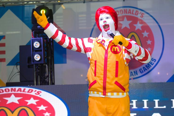 Ronald McDonald speaks at McDonald's All American Games Fan Fest at Atlantic Station on March 25, 2018 in Atlanta, Georgia.