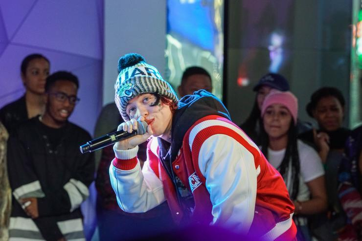Lil Xan performs on MTV TRL on January 9, 2018 in New York City