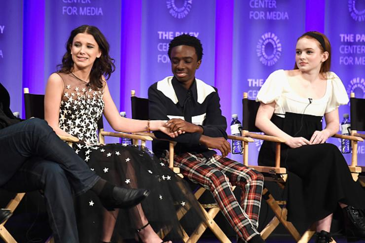 Millie Bobby Brown, Caleb McLaughlin and Sadie Sink speak onstage at The Paley Center for Media's 35th Annual PaleyFest Los Angeles - 'Stranger Things' at Dolby Theatre on March 25, 2018 in Hollywood, California.