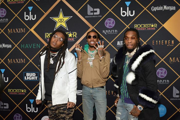 Takeoff, Quavo and Offset of the hip-hop trio Migos attend the 2018 Maxim Party co-sponsored by blu February 3, 2018 in Minneapolis, Minnesota.