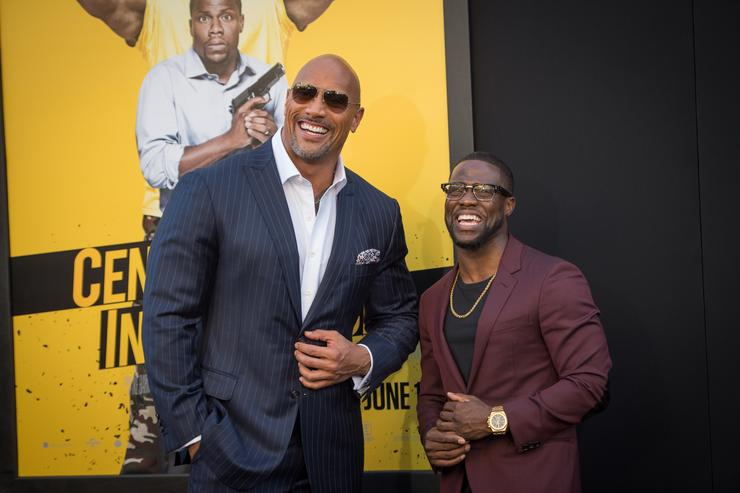 Actors Dwayne Johnson and Kevin Hart attend the premiere of Warner Bros. Pictures' 'Central Intelligence' at Westwood Village Theatre on June 10, 2016 in Westwood, California.