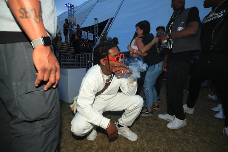 A$AP Rocky poses backstage during the 2018 Coachella Valley Music and Arts Festival Weekend 1 at the Empire Polo Field on April 15, 2018 in Indio, California
