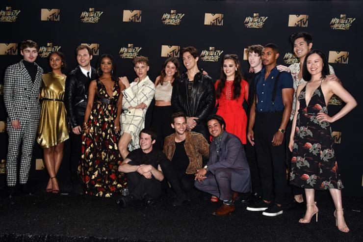 Cast of '13 Reasons Why' poses in the press room during the 2017 MTV Movie And TV Awards at The Shrine Auditorium on May 7, 2017 in Los Angeles, California.