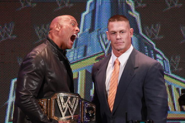 The Rock and John Cena attend the WrestleMania 29 Press Conference at Radio City Music Hall on April 4, 2013 in New York City.