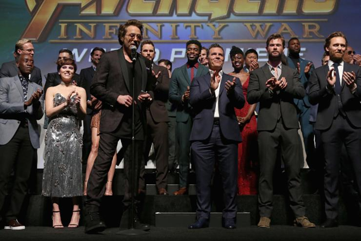 Actor Robert Downey Jr. and cast & crew of 'Avengers: Infinity War' attend the Los Angeles Global Premiere for Marvel Studios' Avengers: Infinity War on April 23, 2018 in Hollywood, California