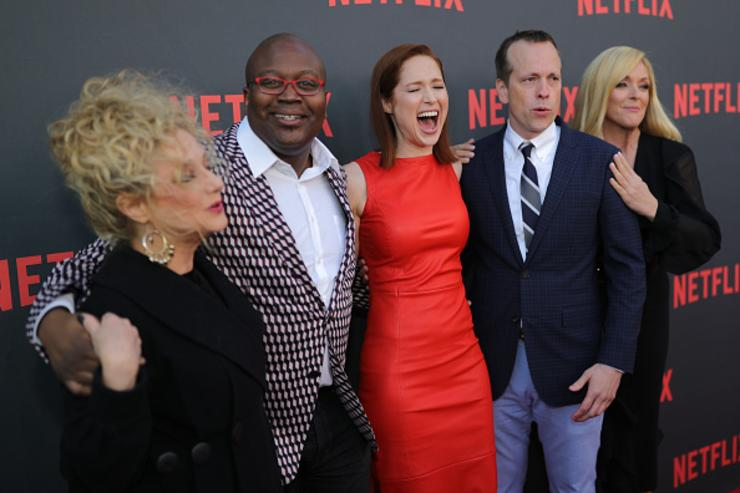 Carol Kane, Tituss Burgess, Jane Krakowski and Ellie Kemper attend Netflix's 'Unbreakable Kimmy Schmidt' for your consideration event red carpet at Saban Media Center on May 4, 2017 in North Hollywood, California.