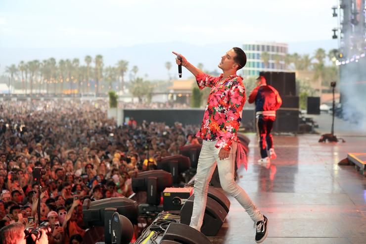 G-Eazy performs onstage with French Montana during the 2018 Coachella Valley Music and Arts Festival Weekend 1 at the Empire Polo Field on April 15, 2018 in Indio, California.