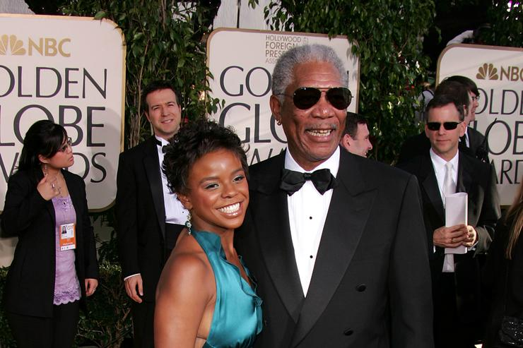 Morgan Freeman and step granddaughter E'Dena Hines arrive to the 62nd Annual Golden Globe Awards at the Beverly Hilton Hotel January 16, 2005 in Beverly Hills, California