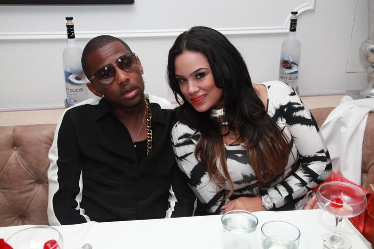 Fabolous and Emily B attend Grey Goose Cherry Noir's Trey Songz album release party in NYC at Bagatelle on August 21, 2012 in New York City