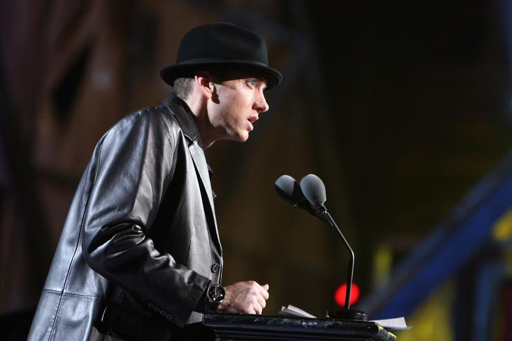 Eminem speaks onstage during the 24th Annual Rock and Roll Hall of Fame Induction Ceremony at Public Hall on April 4, 2009 in Cleveland, Ohio