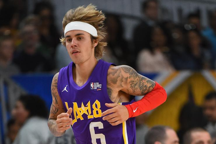 ustin Bieber plays during the 2018 NBA All-Star Game Celebrity Game at Los Angeles Convention Center on February 16, 2018 in Los Angeles, California