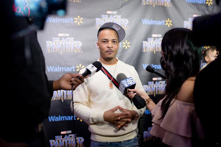 Clifford 'T.I.' Harris interviews with media during the Marvel Studios Black Panther advance screening at Regal Hollywood on February 13, 2018 in Chamblee, Georgia