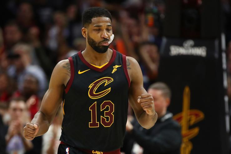 Tristan Thompson #13 of the Cleveland Cavaliers reacts to a play late in the fourth quarter while playing the Indiana Pacers in Game Seven of the Eastern Conference Quarterfinals during the 2018 NBA Playoffs at Quicken Loans Arena on April 29, 2018 in Cleveland, Ohio
