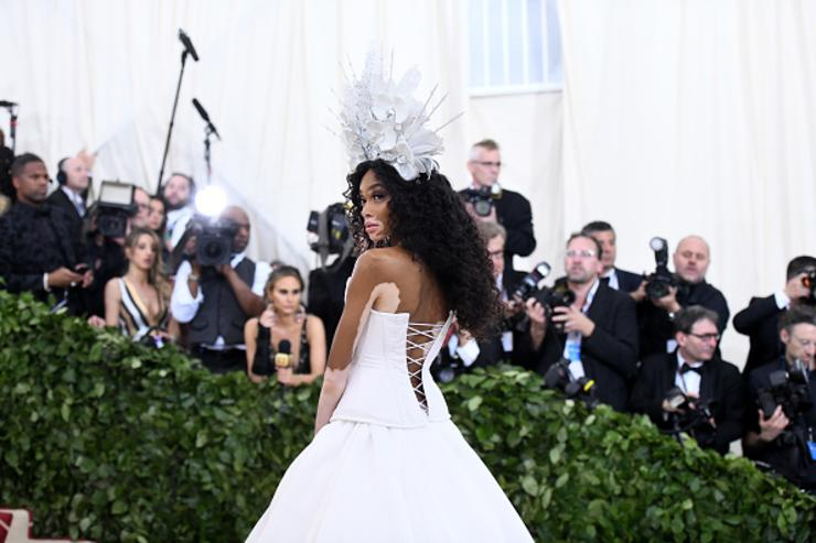 Model Winnie Harlow attends the Heavenly Bodies: Fashion & The Catholic Imagination Costume Institute Gala at The Metropolitan Museum of Art on May 7, 2018 in New York City.