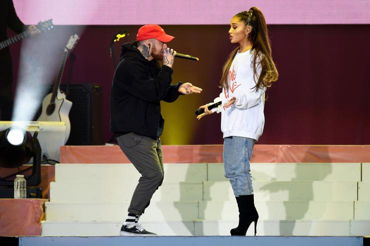 Mac Miller and Ariana Grande perform on stage on June 4, 2017 in Manchester, England.