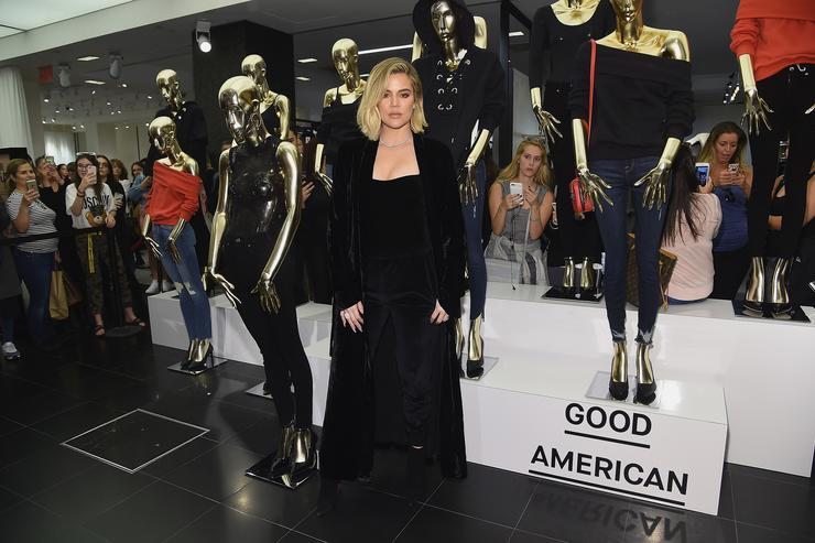 Khloe Kardashian celebrates the launch of Good American with Emma Grede at Bloomingdale's on October 28, 2017 in New York City.