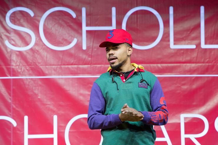 Chance The Rapper attends the Scholly Scholarship Summit on February 10, 2018 in Chicago, Illinois.