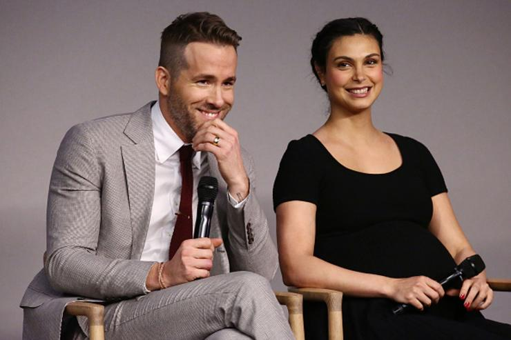 Actors Ryan Reynolds and Morena Baccarin attend Apple Store Soho Presents Meet The Actor: Ryan Reynolds, Morena Baccarin, T.J. Miller, and Ed Skrein, 'Deadpool' at Apple Store Soho on February 9, 2016 in New York City.