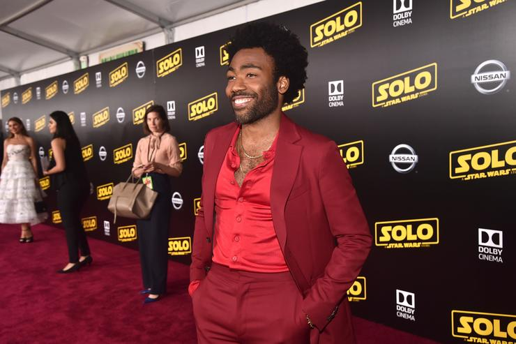 "Actor Donald Glover attends the world premiere of ""Solo: A Star Wars Story"" in Hollywood on May 10, 2018."