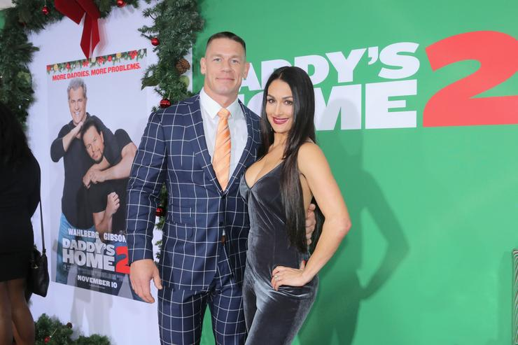 John Cena and Nikki Bella attend the Los Angeles Premiere of 'Daddy's Home 2' at Regency Village Theatre on November 5, 2017 in Westwood, California.