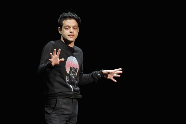 Actor Rami Malek speaks onstage during CinemaCon 2018- 20th Century Fox Invites You to a Special Presentation Highlighting Its Future Release Schedule at The Colosseum at Caesars Palace during CinemaCon, the official convention of the National Association of Theatre Owners, on April 26, 2018 in Las Vegas, Nevada.