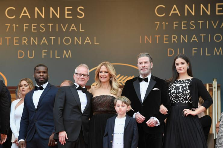Curtis Jackson, Thierry Fremaux, Kelly Preston, Benjamin Travolta, John Travolta and Ella Travolta attend the screening of 'Solo: A Star Wars Story' during the 71st annual Cannes Film Festival at Palais des Festivals on May 15, 2018 in Cannes, France.
