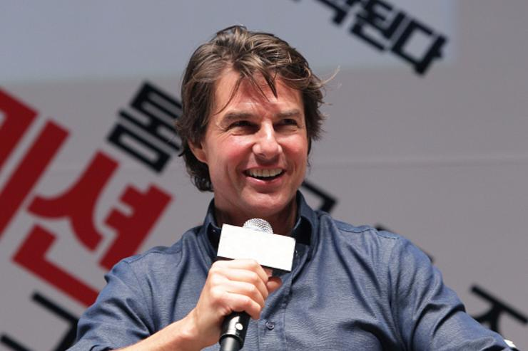 Tom Cruise makes a guest appearance at the screening of 'Mission: Impossible - Rogue Nation' at the Superplex G theater, which is largest theater screen in the world at Lotte World Tower Mall on July 31, 2015 in Seoul, South Korea