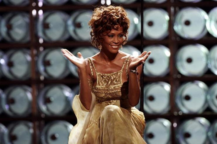 Singer Whitney Houston is seen performing on stage during the 2004 World Music Awards at the Thomas and Mack Center
