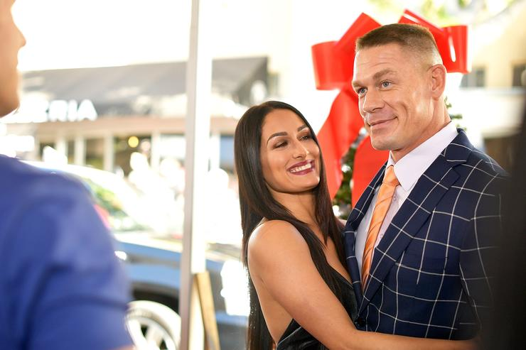 Nikki Bella and John Cena attend the premiere of Paramount Pictures' 'Daddy's Home 2' at Regency Village Theatre on November 5, 2017 in Westwood, California