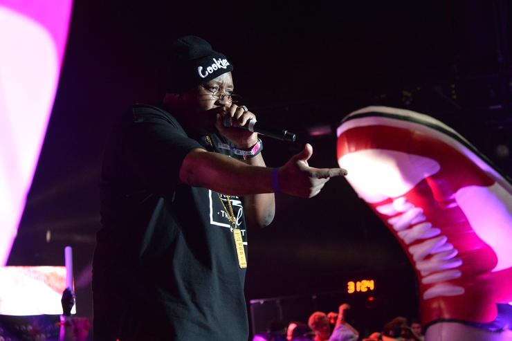 Rapper E-40 perform with Girl Talk onstage during day 1 of the 2014 Coachella Valley Music & Arts Festival at the Empire Polo Club on April 11, 2014 in Indio, California.