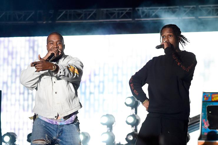 Kanye West and rapper A$AP Rocky perform onstage during day 1 of the 2016 Coachella Valley Music & Arts Festival Weekend 1 at the Empire Polo Club on April 15, 2016 in Indio, California
