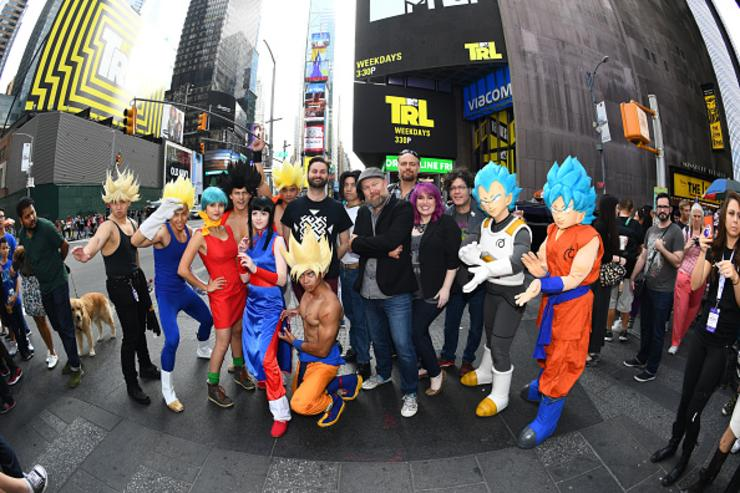 Jason Douglas, Ian Sinclair, Sean Schemmel, Christopher Sabat, and Monica Rial attend the Dragon Ball Super NYCC Fan Meetup on October 7, 2017 in New York City.