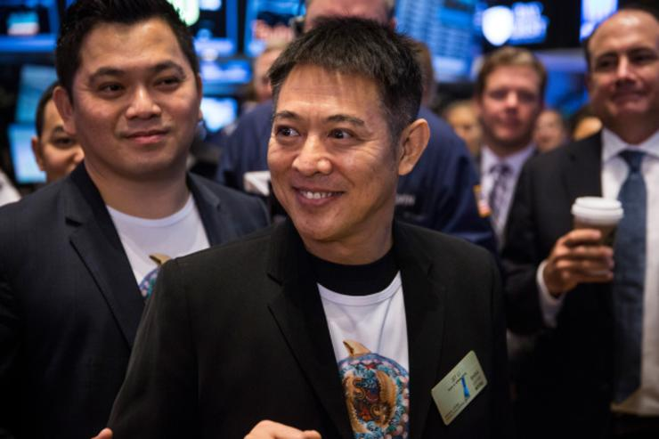 Actor Jet Li attends Alibaba Group's initial price offering (IPO) at the New York Stock Exchange on September 19, 2014 in New York City. The New York Times reported yesterday that Alibaba had raised $21.8 Billion in their initial public offering so far.