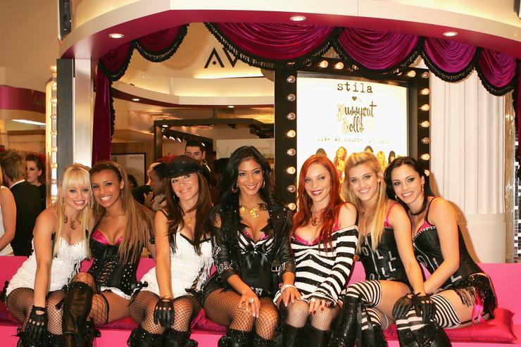 Kim Wyatt, Melody Thornton, Robin Antin, Nicole Schevziwger, Carmit Bachar Ashley Roberts and Jessica Sutta of the dance troupe the Pussycat Dolls attend an event launching their new Stila Pussycat Doll makeup collection at Selfridges Oxford Street on April 23, 2005 in London.