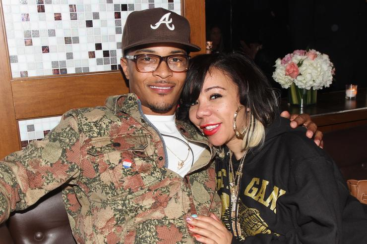T.I. and Tameka Tiny Cottle-Harris attend Moet Rose Lounge presents T.I., a celebration for his new album Trouble Man: Heavy is The Head at Baoli on November 20, 2012 in Miami, Florida