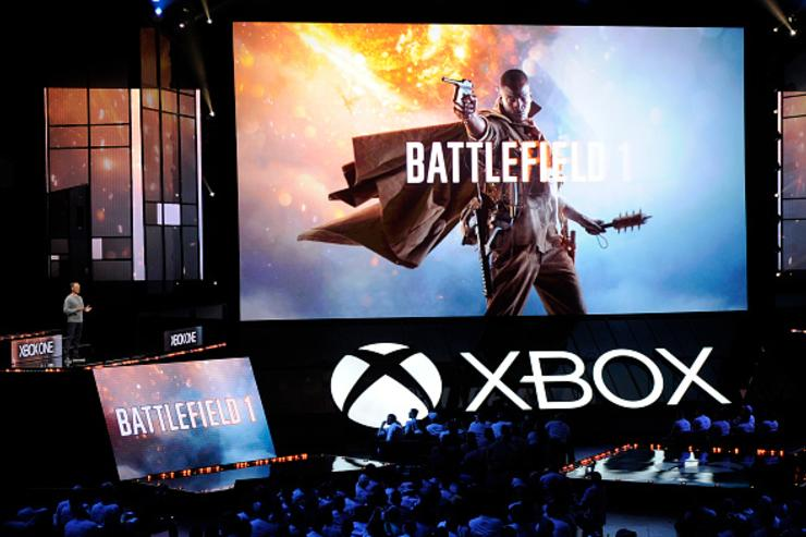 Patrick Soderlund, Executive Vice President EA Studios, introduces the video game |Battlefield 1' during Microsoft Corp. Xbox at the Galen Center on June 13, 2016 in Los Angeles, California.