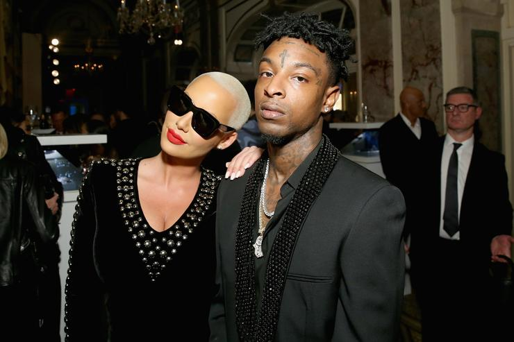 Amber Rose (L) and 21 Savage attend Harper's BAZAAR Celebration of 'ICONS By Carine Roitfeld' at The Plaza Hotel presented by Infor, Laura Mercier, Stella Artois, FUJIFILM and SWAROVSKI on September 8, 2017 in New York City.