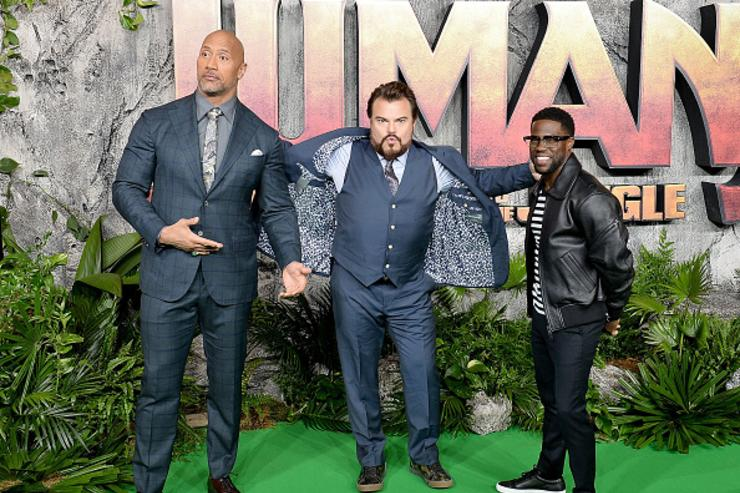 Dwayne Johnson, Jack Black and Kevin Hart attend the 'Jumanji: Welcome To The Jungle' UK premiere held at Vue West End on December 7, 2017 in London, England.