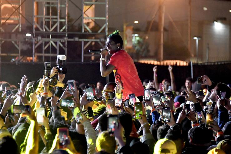 Lil Uzi Vert performs onstage at adidas Creates 747 Warehouse St. - an event in basketball culture on February 17, 2018 in Los Angeles, California